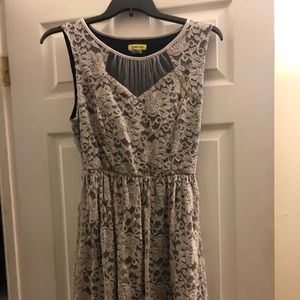 ModCloth cream and navy with sequins dress